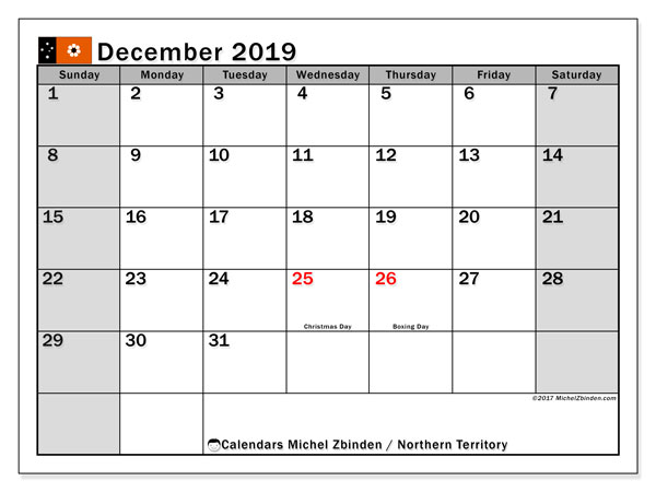 December 2019 Calendar, with the holidays of Northern Territory. Free printable calendar with public holidays.