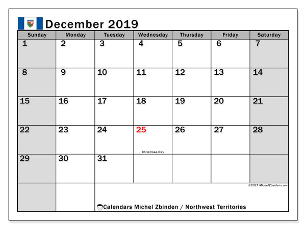 December 2019 Calendar  - Northwest Territories. Printable calendar: public holidays.