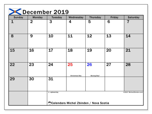 Calendar December 2019, with the holidays of Nova Scotia. Calendar for the month to print free.