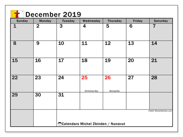 December 2019 Calendar, with the holidays of Nunavut. Free printable calendar with public holidays.