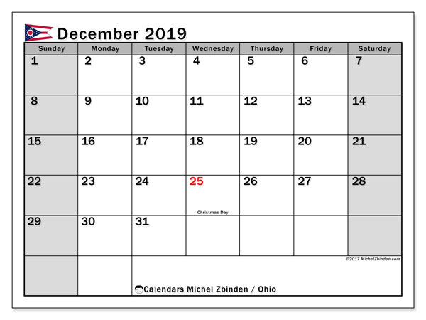 December 2019 Calendar, with the holidays of Ohio. Free printable calendar with public holidays.