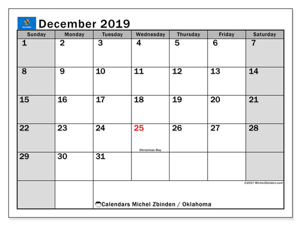 December 2019 Calendar, with the holidays of Oklahoma. Free printable calendar with public holidays.