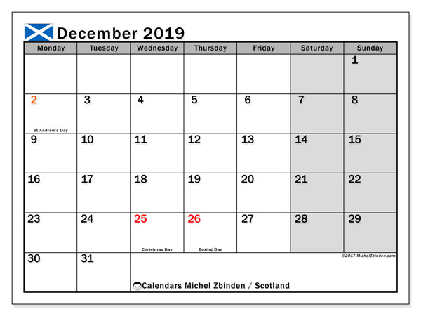 Calendar December 2019, with the holidays of Scotland. Monthly planner to print free.