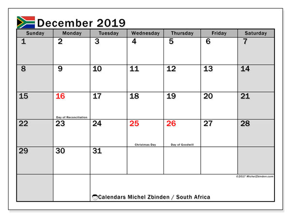 Calendar December 2019, with the holidays of South Africa. Calendar to print free.
