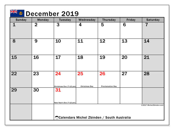 Calendar December 2019, with the holidays of South Australia. Monthly planner to print free.