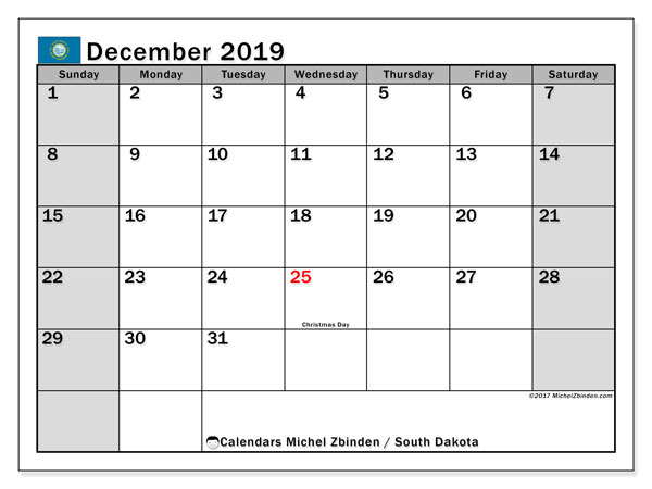 December 2019 Calendar, with the holidays of South Dakota. Holidays calendar to print free.