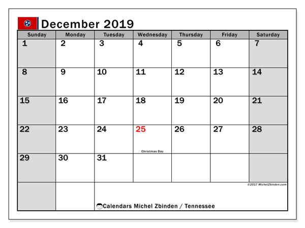 December 2019 Calendar, with the holidays of Tennessee. Free printable calendar with public holidays.