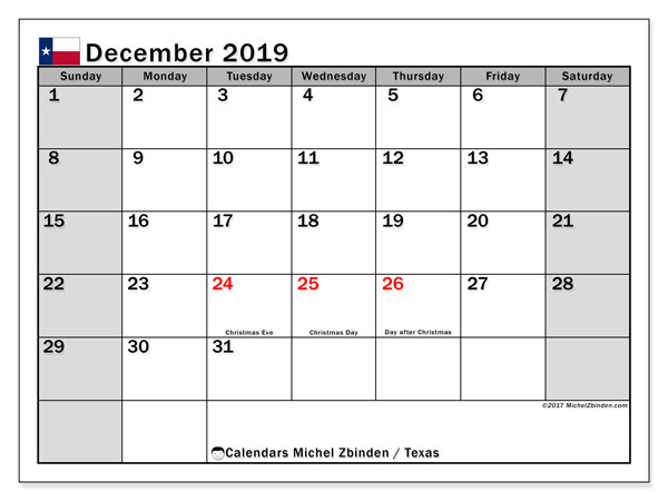 December 2019 Calendar, with the holidays of Texas. Free printable calendar with public holidays.