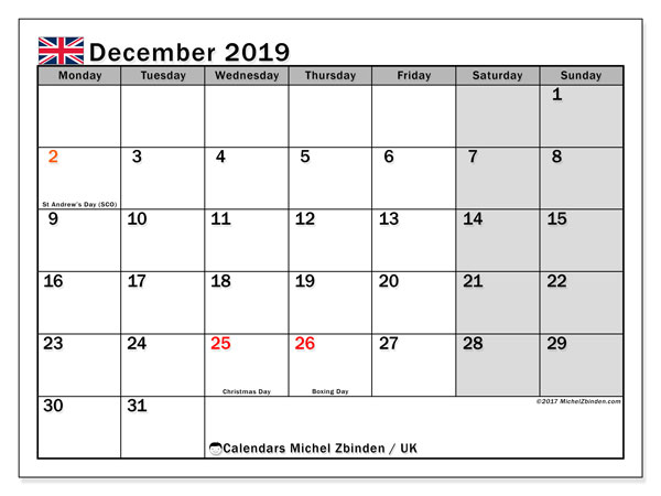 December 2019 Calendar, with the holidays of UK. Holidays calendar to print free.