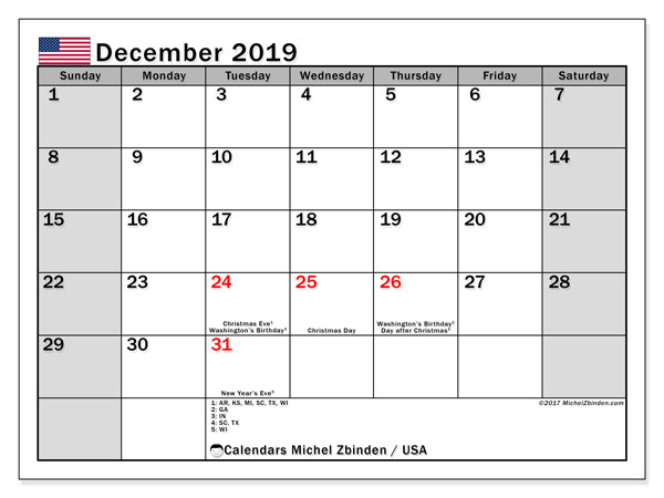 December 2019 Calendar, with the holidays of the USA. Holidays calendar to print free.