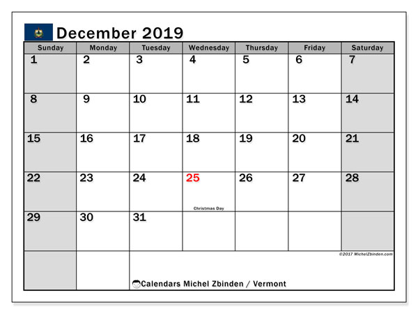 December 2019 Calendar, with the holidays of Vermont. Free printable calendar with public holidays.