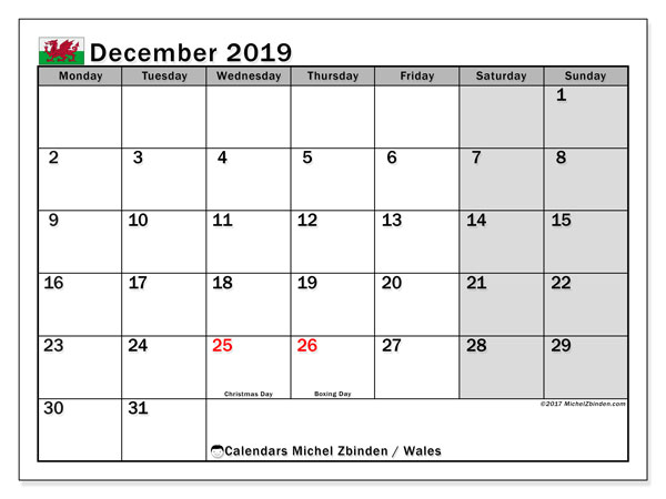 Calendar December 2019, with the holidays of Wales. Free printable planner.