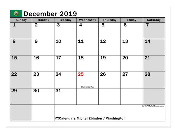 December 2019 Calendar, with the holidays of Washington. Holidays calendar to print free.