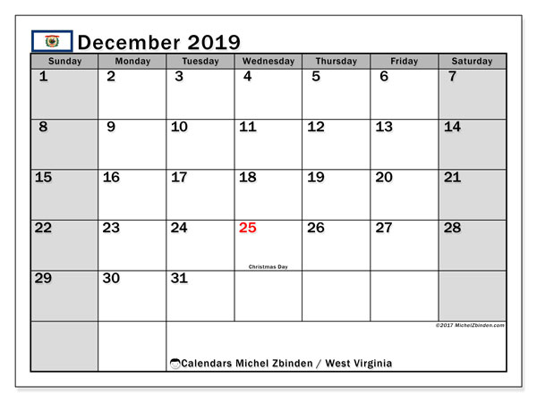 December 2019 Calendar, with the holidays of West Virginia. Free printable calendar with public holidays.