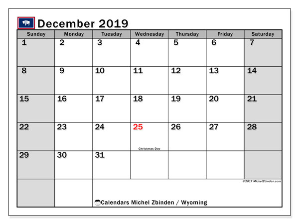 December 2019 Calendar, with the holidays of Wyoming. Holidays calendar to print free.