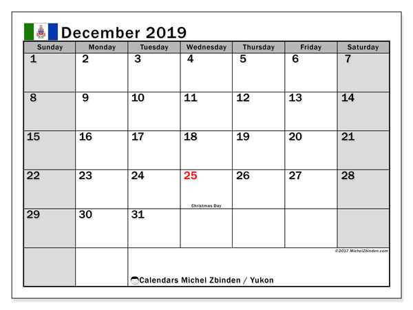 December 2019 Calendar, with the holidays of Yukon. Holidays calendar to print free.