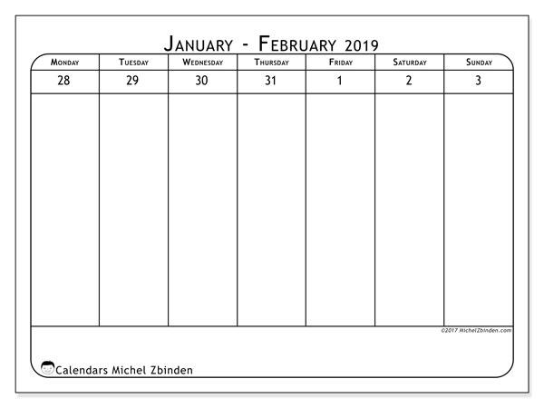Calendar  February 2019, 43-1MS