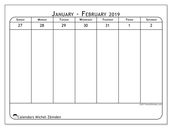 February Weekly Calendar 2019 February 2019 Calendar (43 1SS)   Michel Zbinden EN