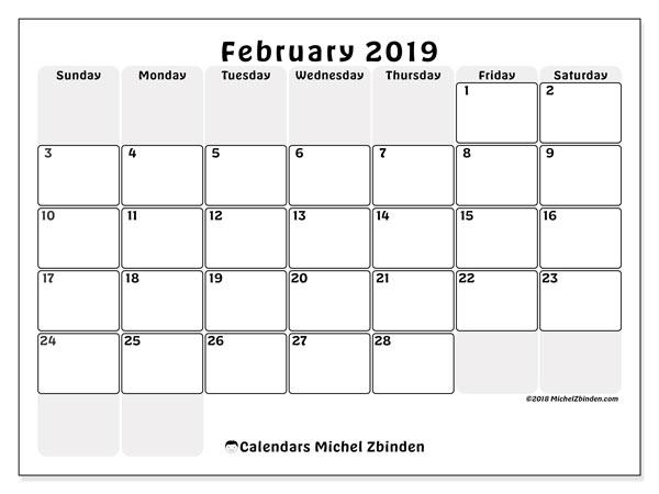 February 2019 Calendar, 44SS. Free bullet journal to print.