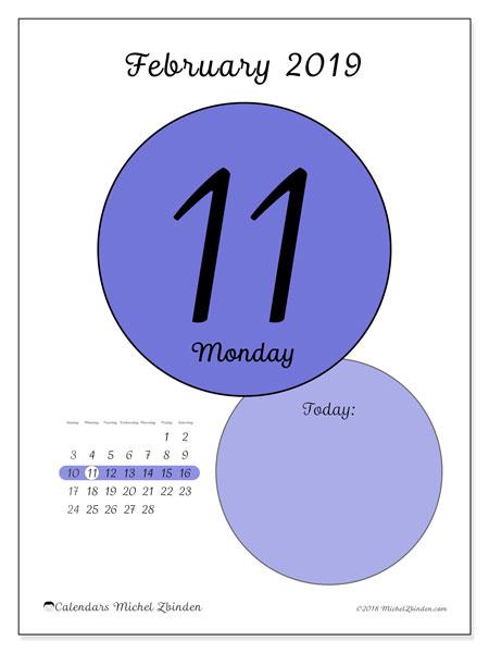 February 2019 Calendar, 45-11SS. Daily calendar to print free.
