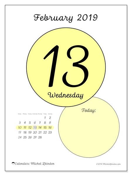 February 2019 Calendar, 45-13SS. Free printable daily calendar.