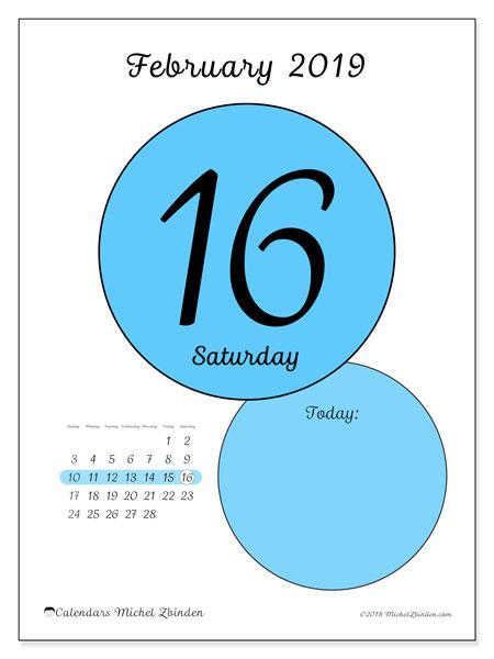 February 2019 Calendar, 45-16SS. Free printable daily calendar.