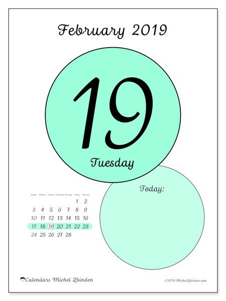 February 2019 Calendar, 45-19SS. Free printable daily calendar.