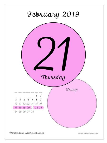 February 2019 Calendar, 45-21SS. Calendar for the day to print free.