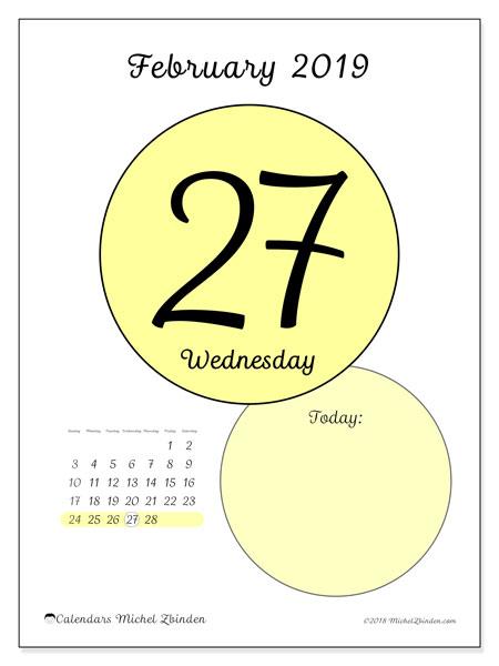 February 2019 Calendar, 45-27SS. Calendar for the day to print free.
