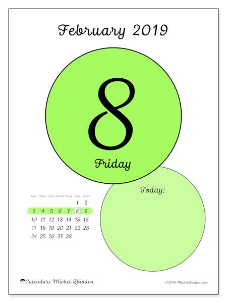 February 2019 Calendar, 45-8SS. Calendar for the day to print free.
