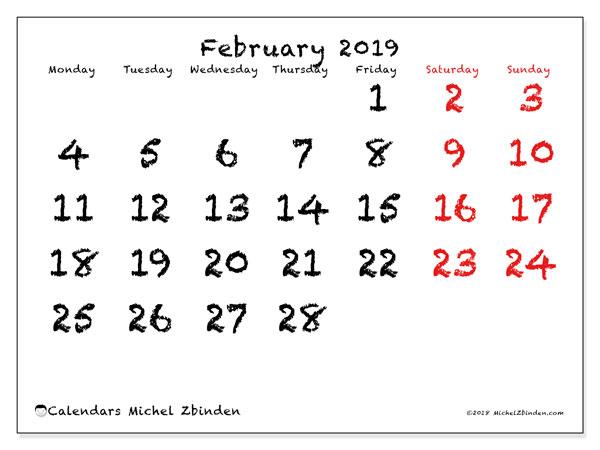 Calendar  February 2019, 46MS
