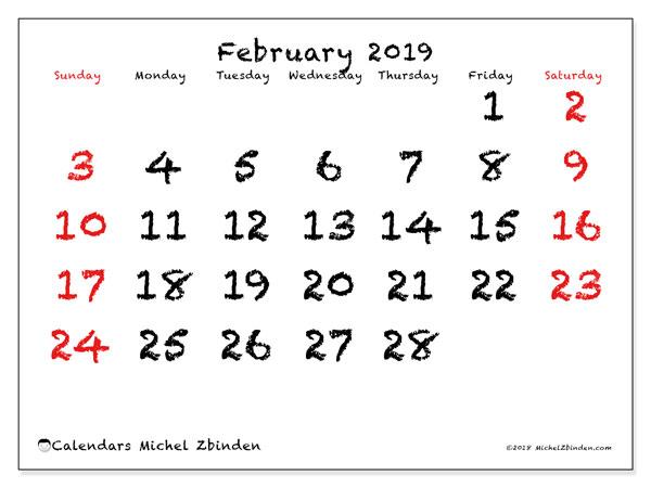 Calendar  February 2019, 46SS