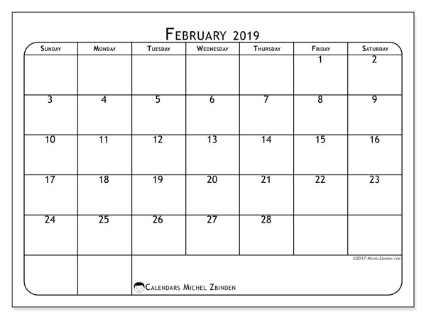 February 2019 Calendar, 51SS. Free printable monthly calendar.