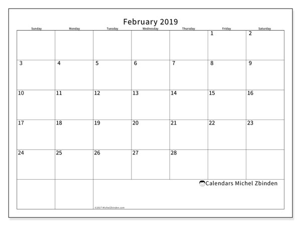 Calendars February 2019 Ss Michel Zbinden En