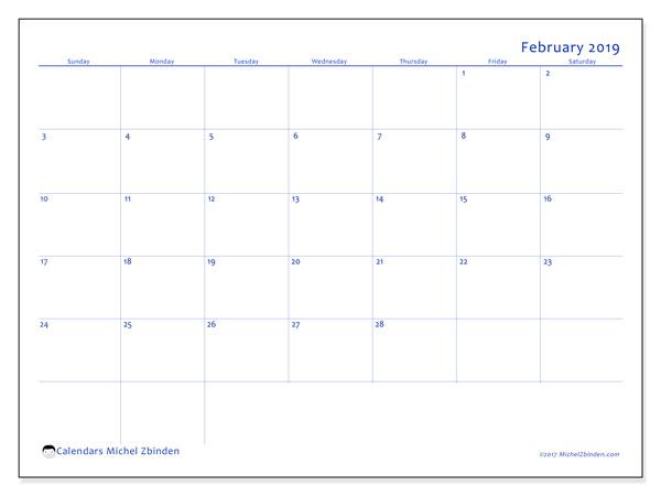 February 2019 Calendar, 55SS. Free bullet journal to print.
