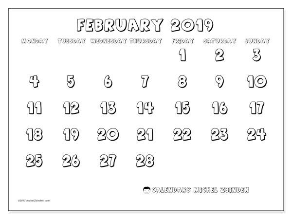 Calendar  February 2019, 56MS