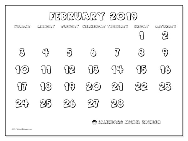 Calendar  February 2019, 56SS