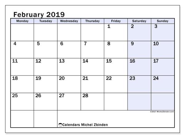 February 2019 Calendar Monday To Sunday February 2019 Calendars (MS)   Michel Zbinden EN