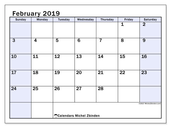 February 2019 Calendars Ss Michel Zbinden En