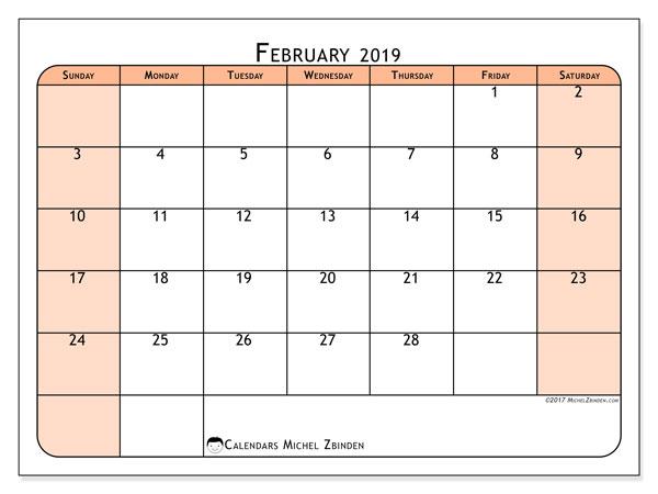 Calendar  February 2019, 61SS