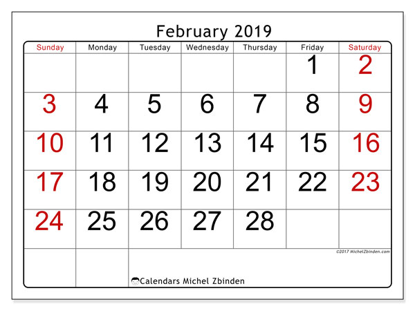 February 2019 Calendar, 62SS. Planner to print free.