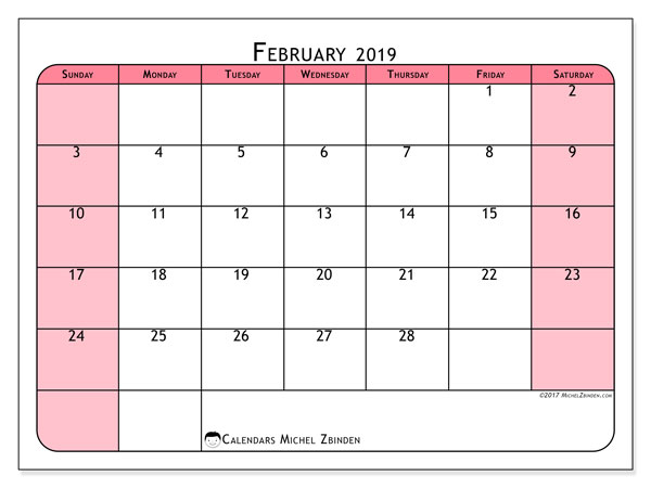 February 2019 Calendar, 64SS. Calendar for the month to print free.