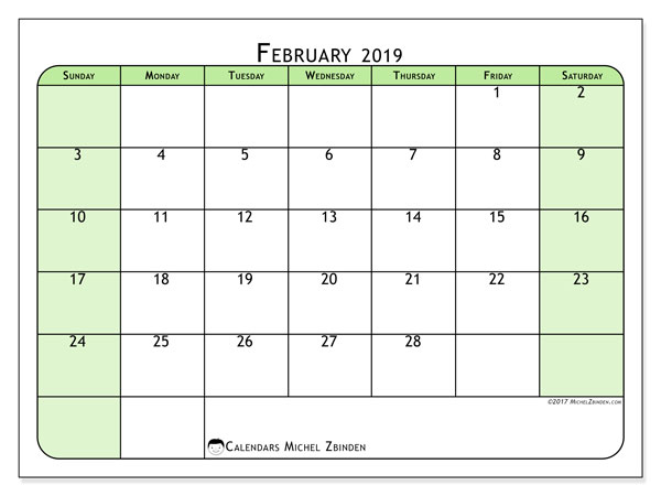 Calendar  February 2019, 65SS