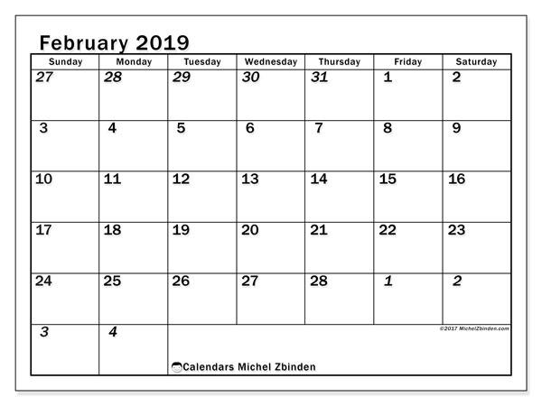 2019 Monthly February Calendar Monday-Sunday February 2019 Calendars (SS)   Michel Zbinden EN