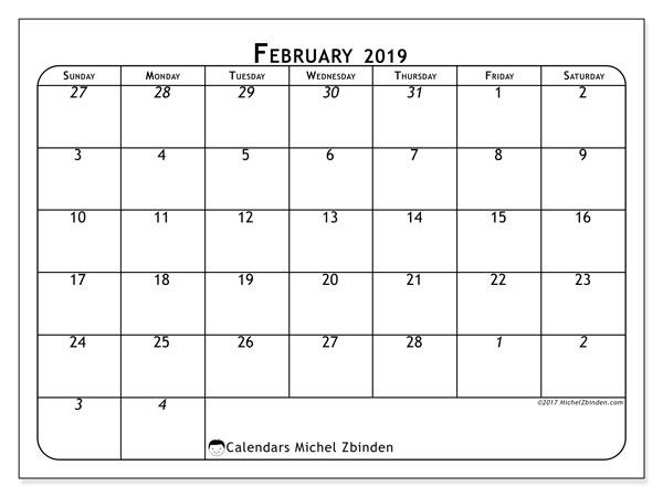 February 2019 Calendar, 67SS. Free printable monthly planner.