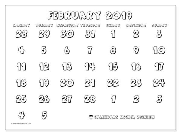 Calendar  February 2019, 71MS