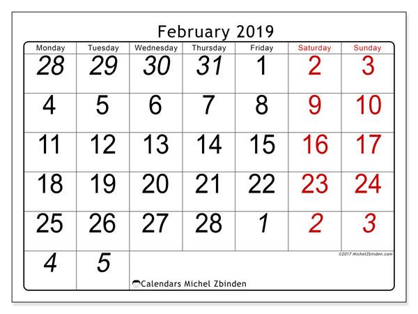 Calendar  February 2019, 72MS