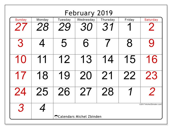 February 2019 Calendar, 72SS. Free printable monthly planner.