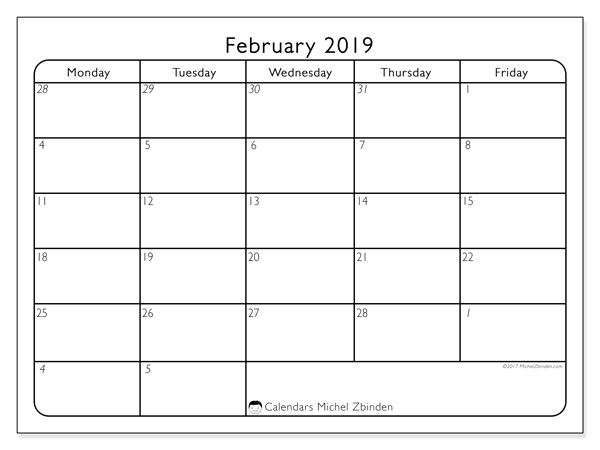 Calendars That Work February 2019 February 2019 Calendar (74MF)   Michel Zbinden EN