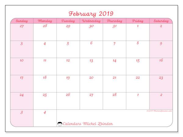 Calendar February 2019 76ss Michel Zbinden En